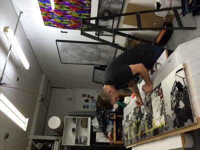 Artist Brent Holland in his studio space since 2005